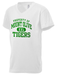 Mount Olive Elementary School Tigers Kid's V-Neck Jersey T-Shirt