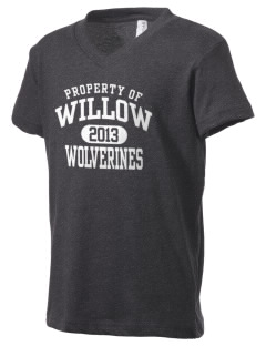 Willow Elementary School Wolverines Kid's V-Neck Jersey T-Shirt