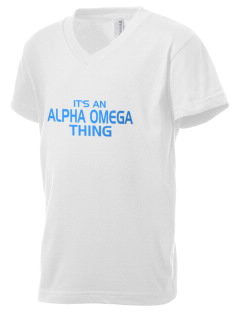 Alpha Omega Academy We don't have one.  We have a logo Kid's V-Neck Jersey T-Shirt
