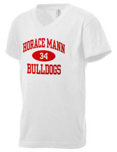 Horace Mann Elementary School Bulldogs Kid's V-Neck Jersey T-Shirt