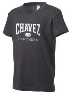 Chavez Elementary School Panthers Kid's V-Neck Jersey T-Shirt