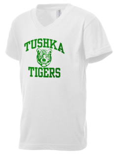 Tushka School Tigers Kid's V-Neck Jersey T-Shirt