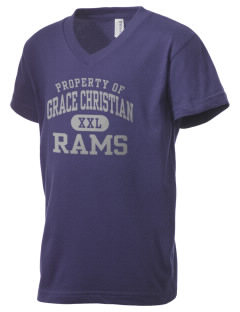 Grace Christian Academy Rams Kid's V-Neck Jersey T-Shirt
