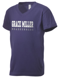 Grace Miller Elementary School Roadrunners Kid's V-Neck Jersey T-Shirt