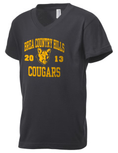 Brea Country Hills Elementary School Cougars Kid's V-Neck Jersey T-Shirt