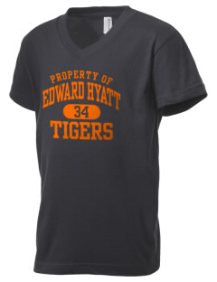 Edward Hyatt Elementary School Tigers Kid's V-Neck Jersey T-Shirt