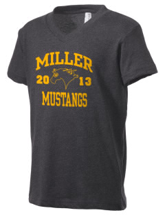 Miller Elementary School Mustangs Kid's V-Neck Jersey T-Shirt