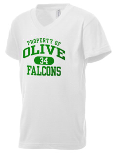 Olive Elementary School Falcons Kid's V-Neck Jersey T-Shirt