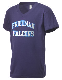 Friedman Middle School Falcons Kid's V-Neck Jersey T-Shirt