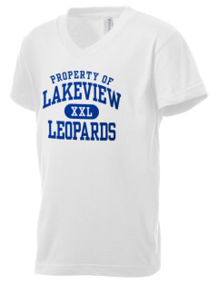 Lakeview Elementary School Leopards Kid's V-Neck Jersey T-Shirt