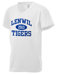 Lenwil Elementary School Tigers Kid's V-Neck Jersey T-Shirt