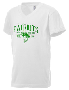 Captain Nathan Hale Middle School Patriots Kid's V-Neck Jersey T-Shirt