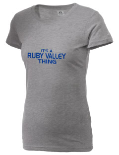 Ruby Valley Elementary School Mustangs  Russell Women's Campus T-Shirt