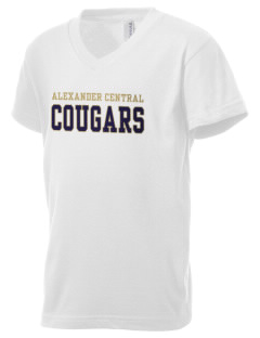 Alexander Central High School Cougars Kid's V-Neck Jersey T-Shirt