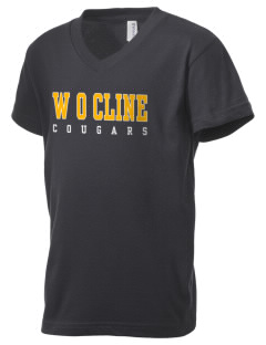 W O Cline Elementary School Cougars Kid's V-Neck Jersey T-Shirt