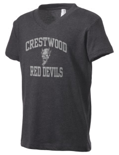 Crestwood Middle School Red Devils Kid's V-Neck Jersey T-Shirt