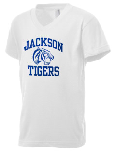 Jackson Elementary School Tigers Kid's V-Neck Jersey T-Shirt