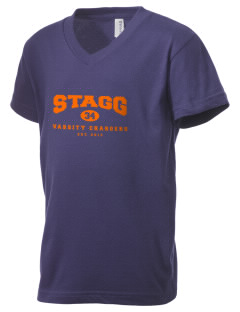 Amos Alonzo Stagg High School Chargers Kid's V-Neck Jersey T-Shirt