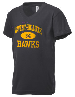 Waverly-Shell Rock Junior High School Hawks Kid's V-Neck Jersey T-Shirt
