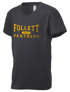 Follett School Panthers Kid's V-Neck Jersey T-Shirt