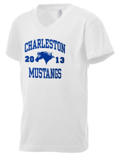Charleston Elementary School Mustangs Kid's V-Neck Jersey T-Shirt