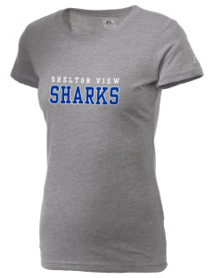 Shelton View Elementary School Sharks  Russell Women's Campus T-Shirt
