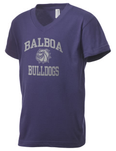 Balboa Elementary School Bulldogs Kid's V-Neck Jersey T-Shirt
