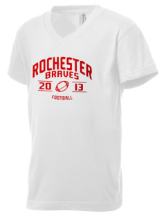 Rochester Middle School Braves Kid's V-Neck Jersey T-Shirt