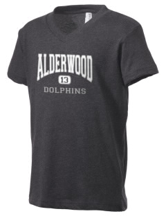 Alderwood Elementary School Dolphins Kid's V-Neck Jersey T-Shirt