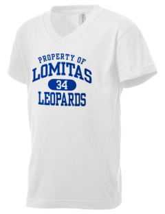 Lomitas Elementary School Leopards Kid's V-Neck Jersey T-Shirt