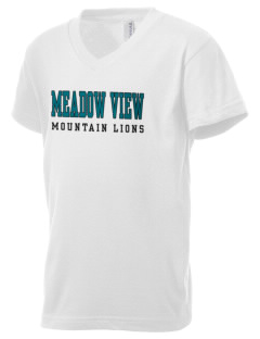Meadow View School Mountain Lions Kid's V-Neck Jersey T-Shirt