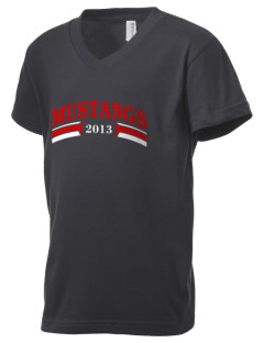 First District Elementary School Mustangs Kid's V-Neck Jersey T-Shirt