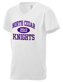 North Cedar Middle School Knights Kid's V-Neck Jersey T-Shirt