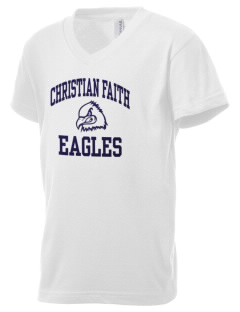 Christian Faith School Eagles Kid's V-Neck Jersey T-Shirt