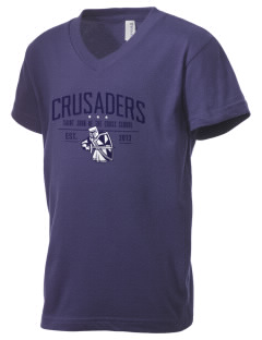 Saint John Of The Cross School Crusaders Kid's V-Neck Jersey T-Shirt