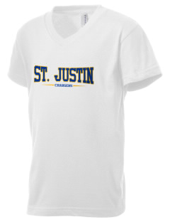 Saint Justin School Chargers Kid's V-Neck Jersey T-Shirt