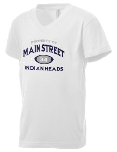 Main Street Elementary School Indian Heads Kid's V-Neck Jersey T-Shirt