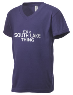 South Lake High School Sharks Kid's V-Neck Jersey T-Shirt