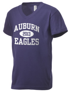 Auburn High School Eagles Kid's V-Neck Jersey T-Shirt