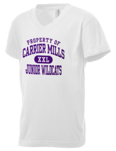 Carrier Mills Elementary School Junior Wildcats Kid's V-Neck Jersey T-Shirt