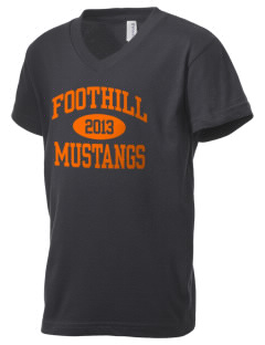 Foothill High School Mustangs Kid's V-Neck Jersey T-Shirt