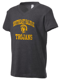 Southeast Halifax High School Trojans Kid's V-Neck Jersey T-Shirt