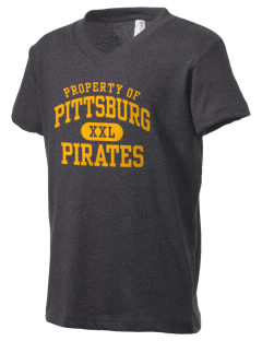 Pittsburg High School Pirates Kid's V-Neck Jersey T-Shirt