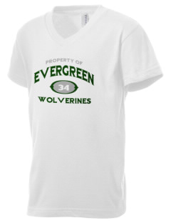 Evergreen High School Wolverines Kid's V-Neck Jersey T-Shirt