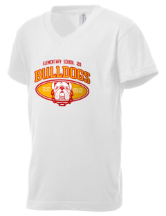 Elementary School 20 Bulldogs Kid's V-Neck Jersey T-Shirt