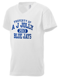 A J Jolly Elementary School Blue Jays Kid's V-Neck Jersey T-Shirt