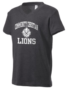 Community Christian School Lions Kid's V-Neck Jersey T-Shirt