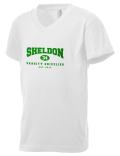 Sheldon Elementary School Grizzlies Kid's V-Neck Jersey T-Shirt