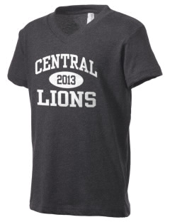 Central Elementary School Lions Kid's V-Neck Jersey T-Shirt