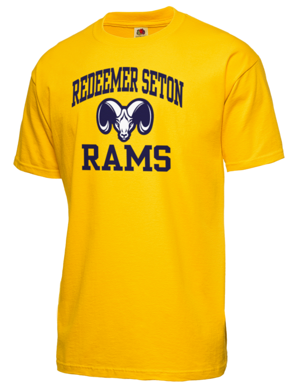 redeemer seton high school rams fruit of the loom men 39 s 5oz cotton t shirt prep sportswear. Black Bedroom Furniture Sets. Home Design Ideas
